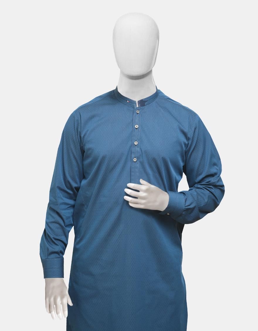 Kurta Trouser Blue Textured
