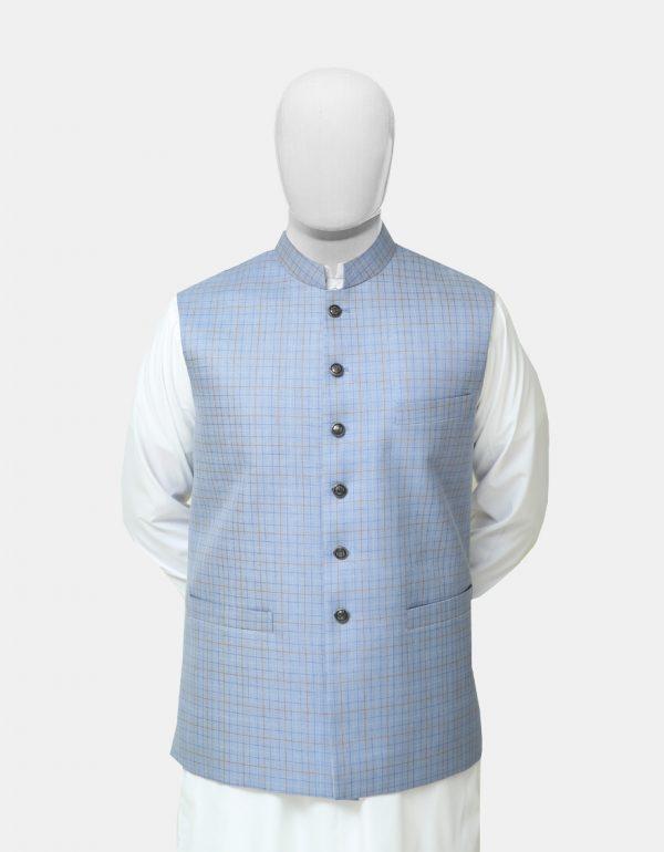 Sky Blue Readymade Waistcoat