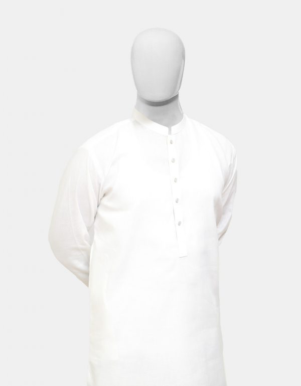 Kurta Pajama White Textured