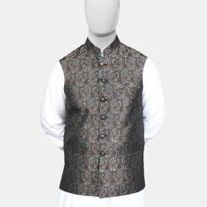 Black Gray Jamawar Waistcoat
