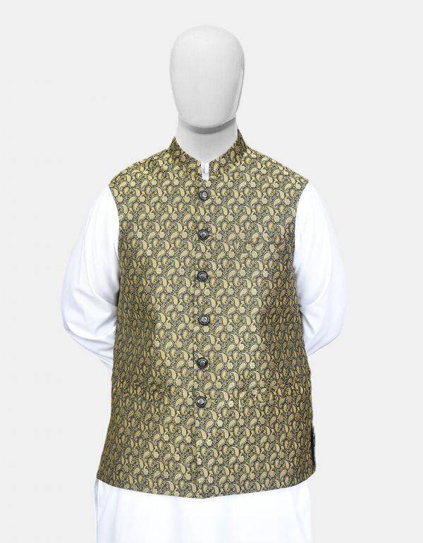Black Golden Jamawar Waistcoat