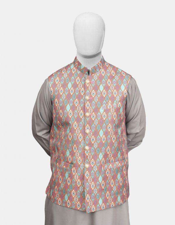 Multicolor Jamawar Readymade Waistcoat