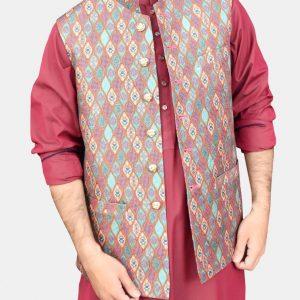 Multicolor Atlus Jamawar Readymade Waistcoat