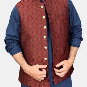 Red Jamawar Waistcoat
