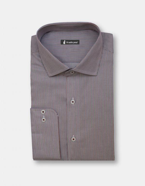 Maroon Green Stripes Dress Shirt