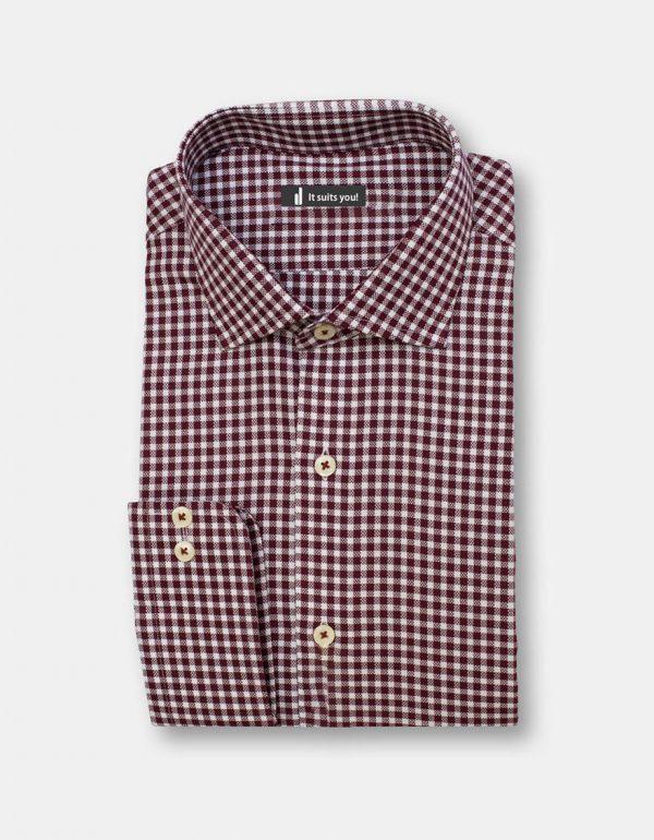 Maroon Check Dress Shirt